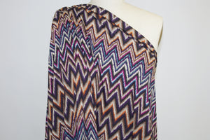 Missoni-Style Chevron Double Brushed ITY Jersey - Multi on Taupe
