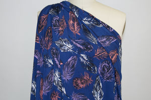 Fine Feathered ITY Jersey - Apricot/Purple on Navy