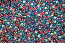 1 3/8+ yards of Petite Floral Soft ITY Knit - Multi on Black