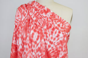 Tye-Dye Effect Double Brushed ITY Jersey - Corals/White