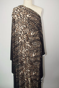 Leopard at Night Double Border ITY Jersey - Browns/Blacks