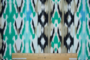 Ikat/Stripe Panel Print ITY Jersey - Greens/Blue/Beiges/Black/White