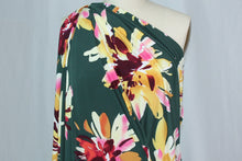 1+ yards of Beautiful, Bold Floral ITY Jersey - Multi on Forest Green