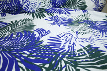 Italian Leafy Print Stretch Cotton Jacquard - Forest/Royal/White