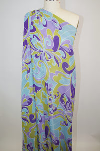 Pucci-esque Rayon Georgette - Olive/Purples/Blue/White