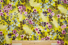 Pansy Perfection Rayon Challis - Greens/Purples/Gray/Brown