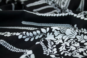Floral Vines Border Rayon Challis - Black/White