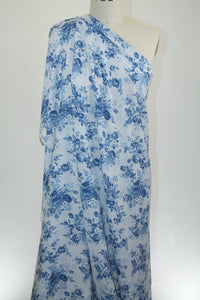 Digitally Printed Floral Rayon Challis - Blues