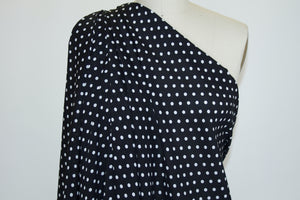Polka Dot Rayon Challis - White on Black