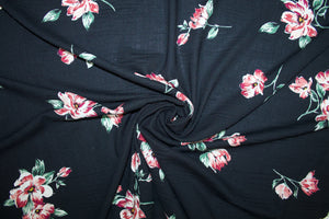 Stretch Floral Rayon Challis - Reds/Greens/Ivory on Black