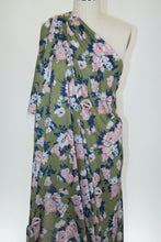 Stretch Floral Rayon Georgette - Blush/Blues on Olive