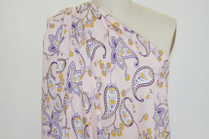 Stylized Paisley Stretch Rayon Challis - Purples/Wheat/Pink