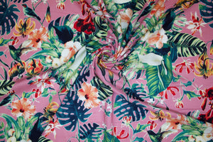 Hummingbird Heaven Rayon Challis - Multi on Blush Pink