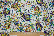 Stylized Florals Rayon Challis - Multi on White