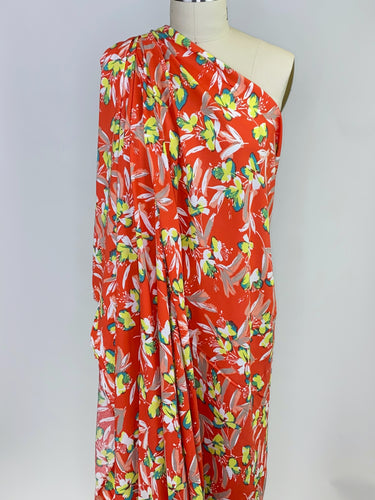 California Designer Floral Rayon Crepe - Yellows/Greens/Corals