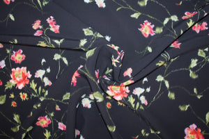 Italian Rayon Floral Stretch Crepe - Pink/Green/Yellow/Lavender on Black