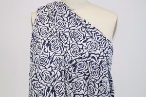 Rosy Outlook Rayon Jacquard Double Knit - Navy/White