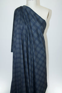 Plaid Reversible (!) Rayon Double Knit - Navy/Gray to Black