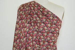 Rose Garden Novelty Rayon Jersey - Pink/Red/Golds/Black/Silver