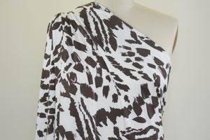 Paintbrush Strokes Rayon Jersey - Brown/White