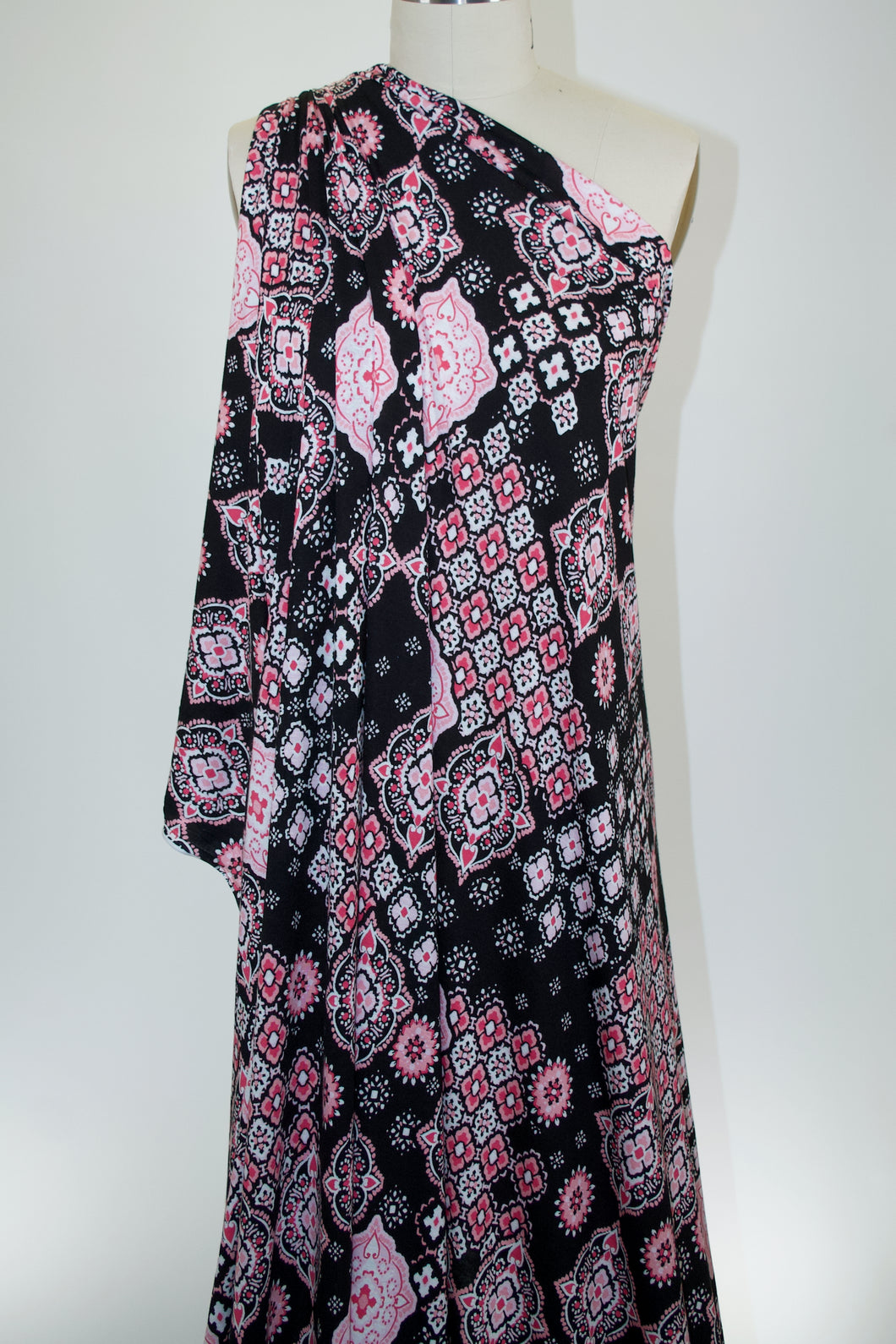 Marvelous Medallions Rayon Jersey - Pinks on Black