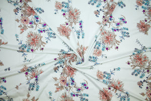Chrysanthemum Print Rayon Jersey - Corals/Purple/Blues on Natural
