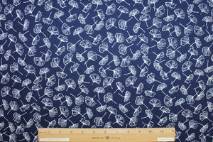 Wide Ginko Garden Rayon Jersey - White on Navy