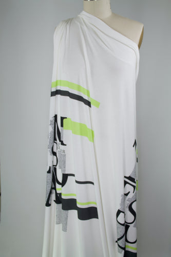 Big Words Italian Rayon Jersey - Black/Lime Natural