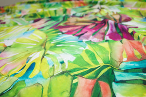 Almost 2 yards of Hana Heaven Italian Rayon Jersey - Greens/Blues/Purples/White