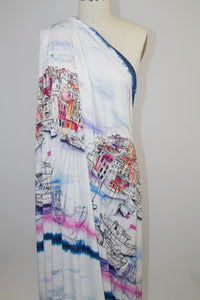 Amalfi Summer Italian Rayon Jersey - Multi on Natural