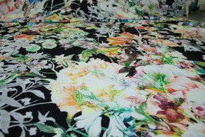 Floribunda Italian Rayon Jersey - Multi on Black
