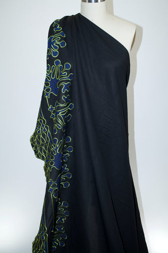 Peacock Fancy Border Embroidered Rayon/Linen Blend - Black/Blue/Chartreuse