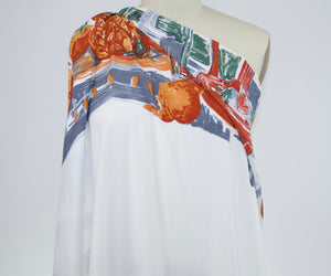 Tonight We Feast! Italian Rayon Crepe Panel Print - White/Oranges/Greens/Grays