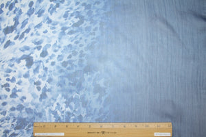 Ombré Border Print Silk Chiffon - Blues
