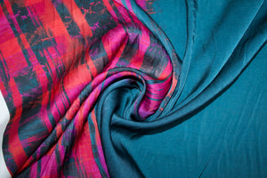 1 3/4 yards of N@nette Lep0re Stretch silk - Deep Teal/Pinks/Reds