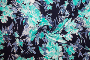 NY Designer Scuba Double Cloth - Blues/Aqua/White