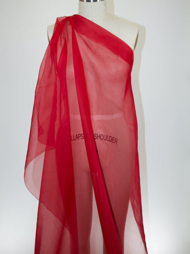 Wide Italian Silk Organza - Lipstick Red