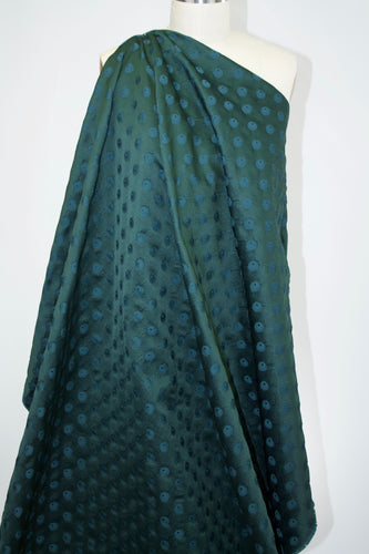 Silk/Linen Jacquard - Deep Green/Blue