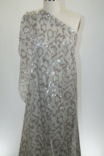 Sssnakey Sssequined Sssilk Chiffon - Taupe/Soft White