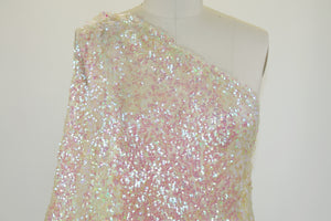 2 1/2 Yards of French Aurora Sequined Mesh - Pink Tones on Gold