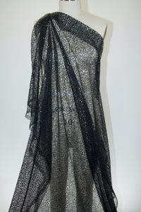 Tiny Sequins Double Border Airy Mesh - Black