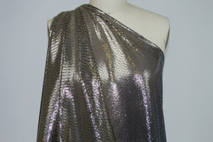 Ombré Mini Sequin Encrusted Mesh - Pewter to Gold on Black