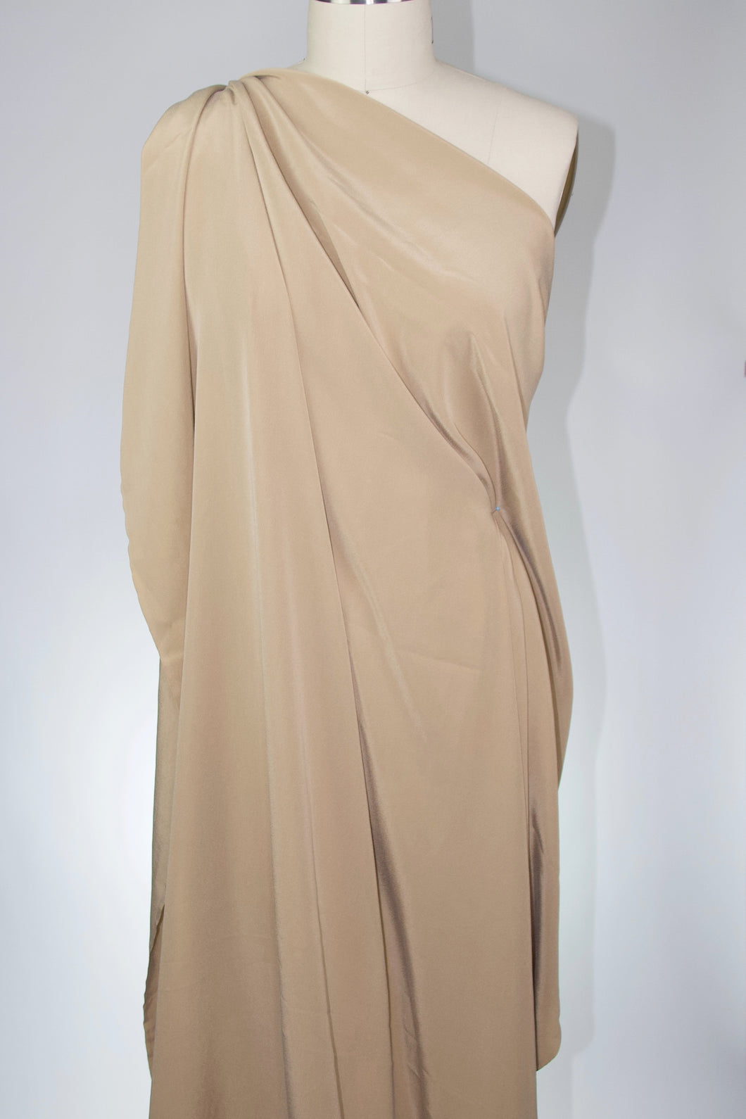 Sueded Stretch Silk Crepe - Tan