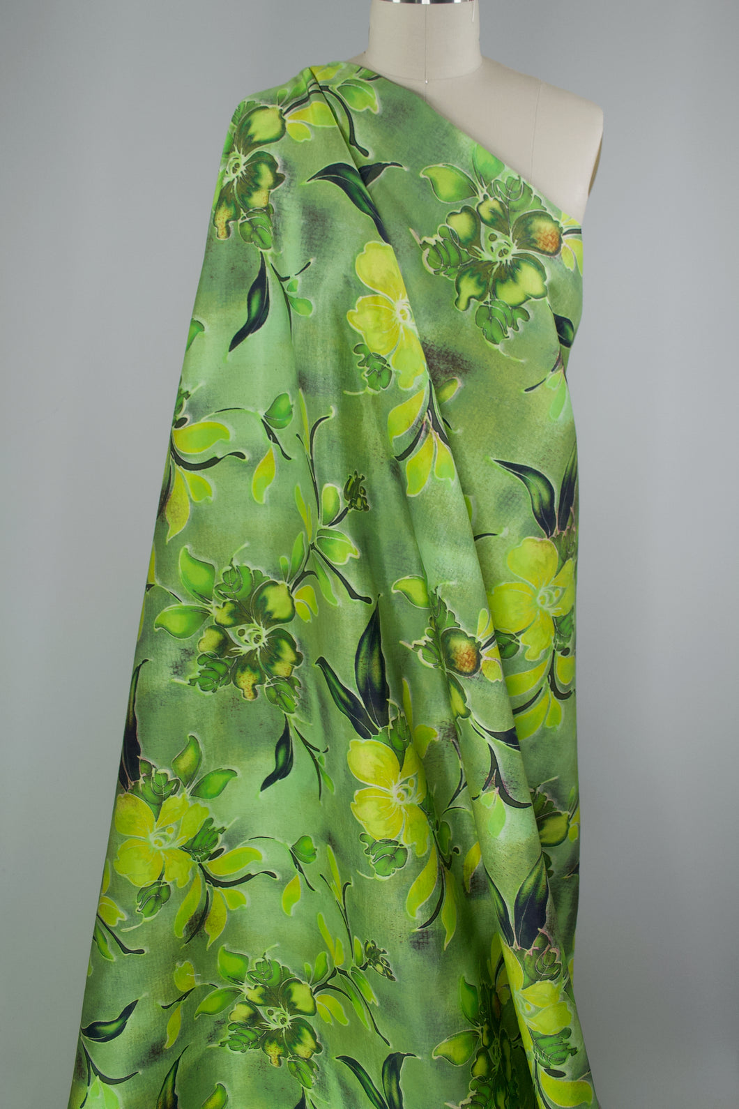 Limeade Spanish Floral Silk Twill - Greens/Yellows