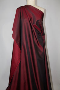 Iridescent Silk Twill Taffeta - Deep Red