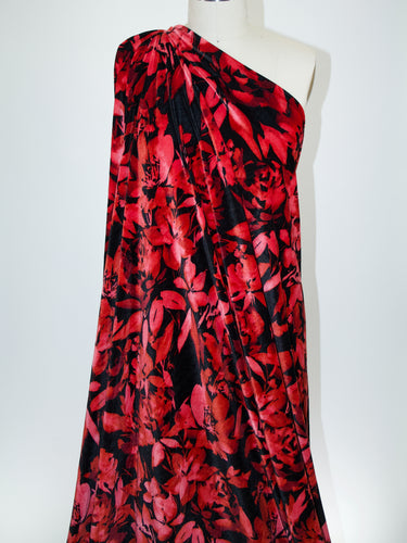 Mambo! Floral Print Stretch Velvet - Reds on Black