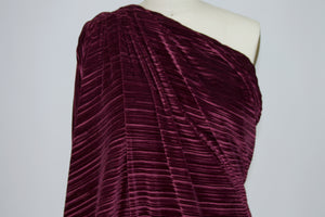 Designer Corded Stretch Velvet - Wine