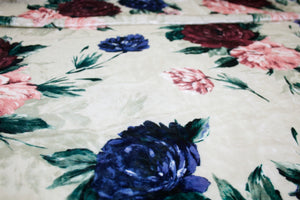 Rose Garden Designer Panné Stretch Velvet - Blues/Pinks/Greens on Ivory