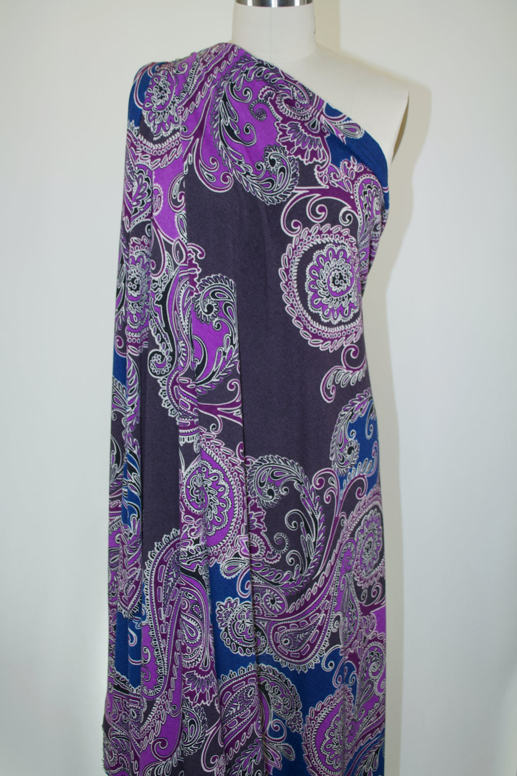 Bold Scaled Paisley Sweater Knit - Purples/Blues
