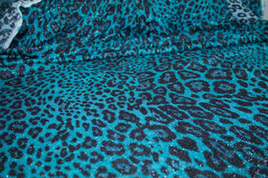2 yards of Glitzy Cheetah Sweater Knit - Teal/Black/Silver
